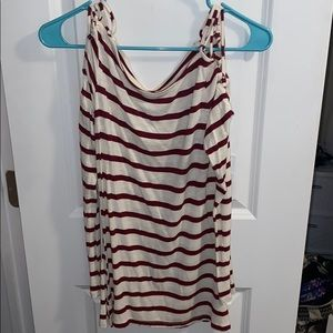 Maroon and white striped top